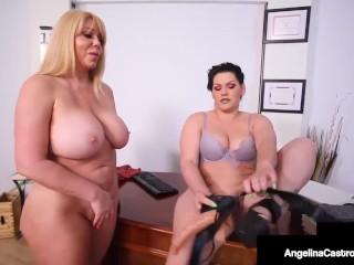 'Lovely Lovehandles Lawyer Angelina Castro strap-on spanks cougar Karen Fisher!'