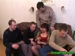 Russian Mature nymph Has joy With 4 dudes