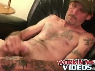 Inked mature first-timer faps diminutive rod and finishes off