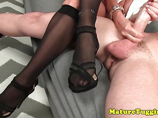 Bigtitted mummy draining off successful stud