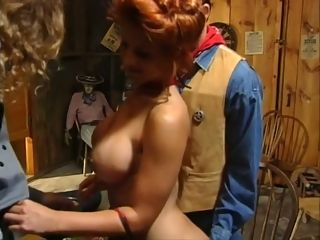 Unbelievable and big-chested red-haired mummy honey at the western tavern