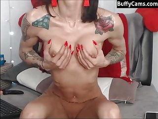 Bony muscle chick on webcam