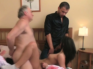Super-naughty youthful female uncovers her yummy cunny for an aged banger
