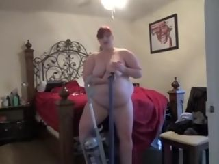 Gigantic wifey fellates boobs with vacuum cleaner