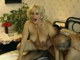 Wooly puss blond Mature rubbed By 2 manstick
