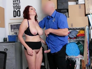 Redheaded cougar Andi got a goopy blast on her meaty baps