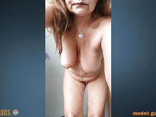 Grandmother making a selfie vid pumping out in the shower