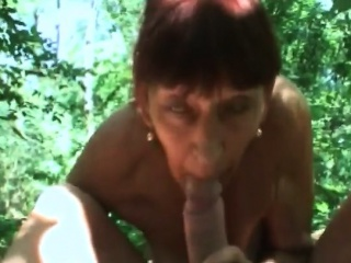 Grandma Inci gives head and gets humped in forest