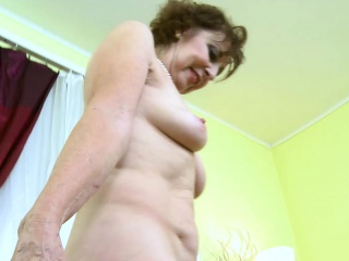 OldNannY super-steamy Mature damsel Solo getting off Showoff