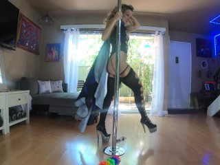 'Pole dancing cougar honey teases the neighbors while seducing you'