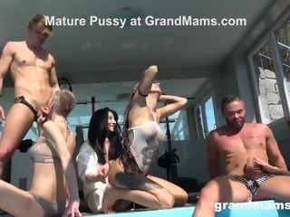 """""""Fucked Up grandmother Pool Orgy"""""""