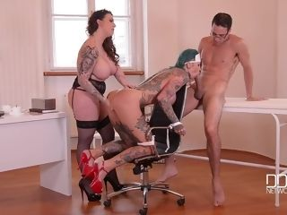 Harmony Reigns & Calisi Ink & Kai Taylor in tatted Nurses Gone insatiable - dehumanization In The Doctor's Office - KINK