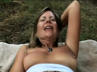 Huge-boobed cougar samantha gets off outdoors by finger-tickling her fuckbox