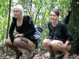Scorching gang of girls caught peeing