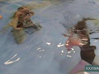 Jane and Minnie Manga swim nude in the pool