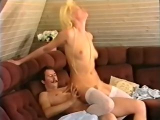 Insane and marvelous blond housewife railing manstick on the sofa