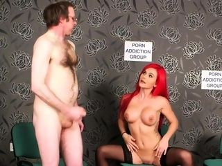 Cougar domme flashes knockers to pornography junkie
