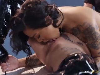Big-boobed black-haired, stunner Gold and a fabulous police doll, Anna Bell Peaks are having a threesome