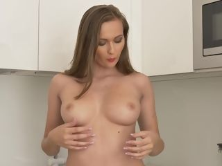 Fleshy stunner Stacy Cruz is fapping wet cooch in the kitchen