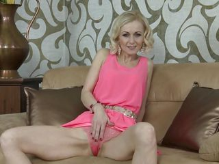 Insane blond cougar shows Her vulva