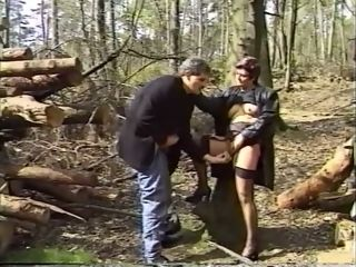 Messy and buxom sandy-haired mummy gal having fuckfest in the forest
