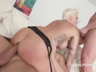 Monsters Of Dap: huge-chested ash-blonde bitch dual banged In four-way