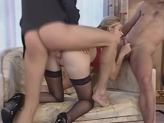 Lady gets romped in every fuck-hole by 2 super-steamy meatpipes