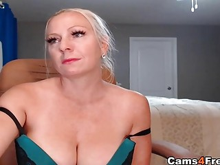 Towheaded milf giant innate bra-stuffers inhales her Toy