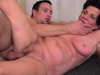 Insatiable grannie fellating and penetrating
