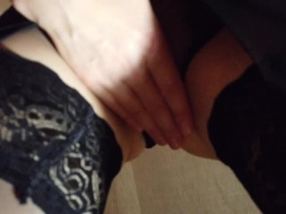 'Sexy cougar striptease in glamour underwear, opening up her bod and soles before solesjob and sex'