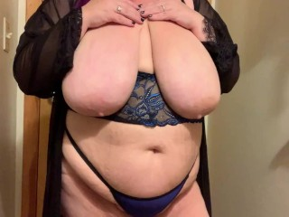 Plus-size ebony and blue undergarments tryon tease