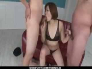 """Tomoka Sakurai emerges to be deepthroating on ?�?2 cocks"""