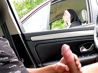 I pull out my meatpipe on the motorway field, this nun is perplexed