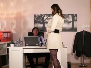 Wifey in underwear humping hubby in office