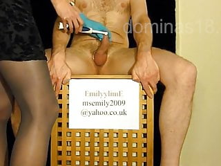 German domme man meat jacking with tooth brush