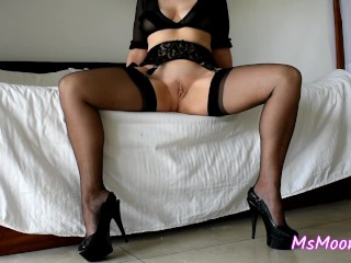 Opening my lengthy gams while wearing ebony FF stockings and high-heeled slippers - gams display