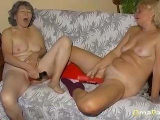 Raunchy lesbo grandmas masturbating off their puss