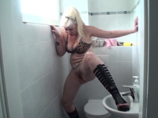 Sissy guy of bizarrlady jessica must clean wc | after she urinate
