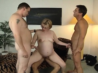Highly knocked up light-haired gang-fucked