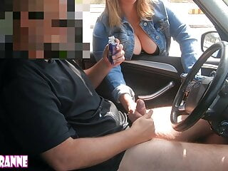 Big-titted cougar helps me out in the parking pile! Public hj!
