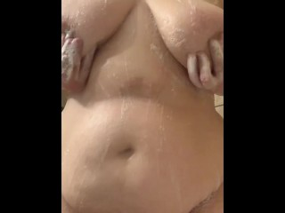 Plumper soapy breast and abdomen rubdown