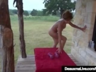 """""""Mature humungous breasted Deauxma Works Out All bare On Front Porch!"""""""