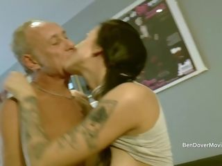 Chav with aged fellow rimming butt licking and gargle gag