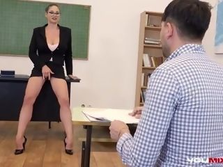 Supah glorious instructor, Cathy Heaven is smashing her schoolgirl while they are alone in the classroom