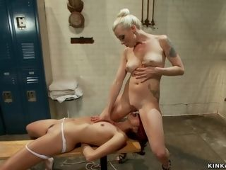 Cheated housewife whips tied sitter in gym