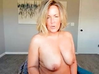Cougar topless chatting on webcam