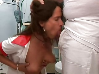 Czech cougar has a threesome with the therapist and wild nurse