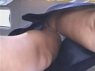 Massive boobies cougar air stewardess get massaged by japanese man on bus - OncougarCam.com