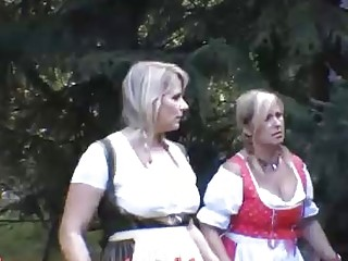 Plump German nymphs are about to paw their vags and fellate a rock rock hard fuckpole