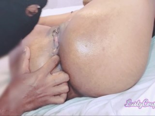 Hubby gobbles and have fun with my pulsating oily cooch on menstruation